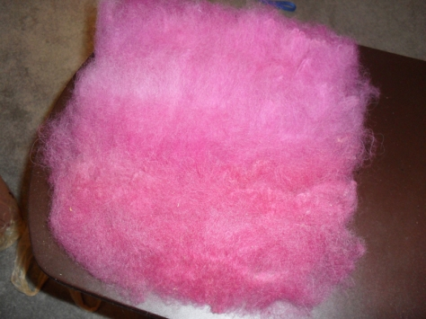 pink carded wool
