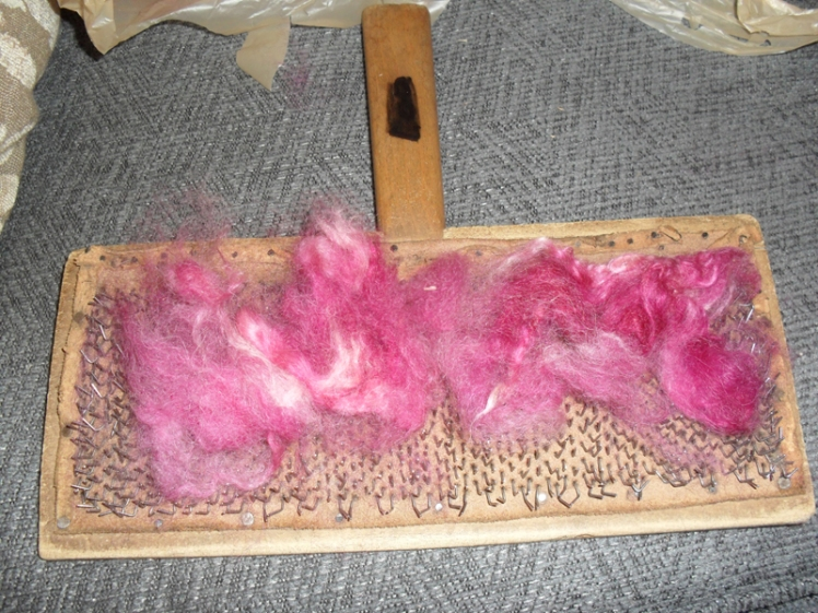 variegated wool before carding