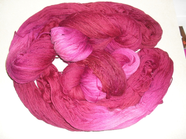 Happy pink-red worsted weight