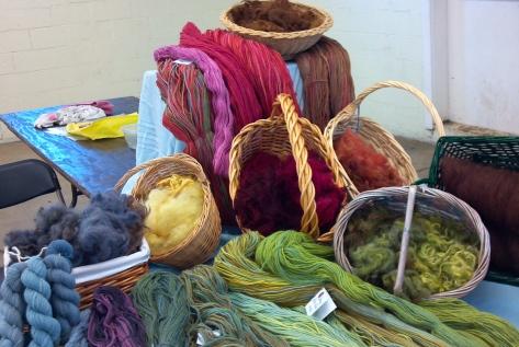 yarns and fleece for demonstrations