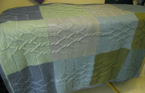 blanket in blue/green