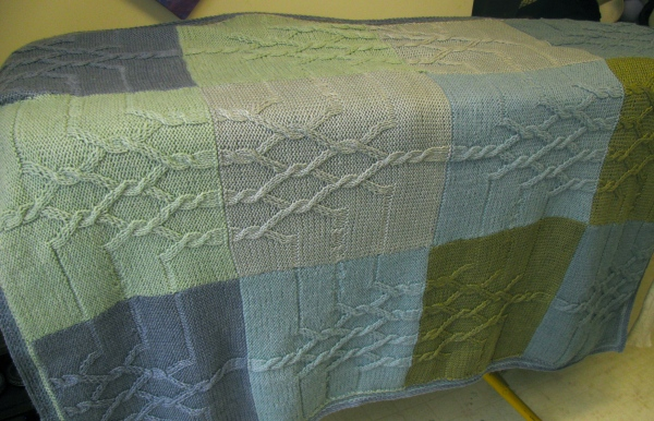 blanket in blue/green