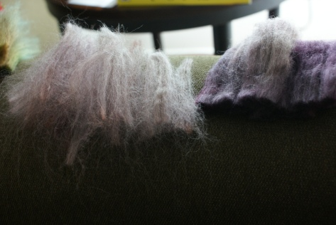 Chopped up bits of 50/50 merino/yak. It's what I had on hand. This girl has no idea how spoiled she is.