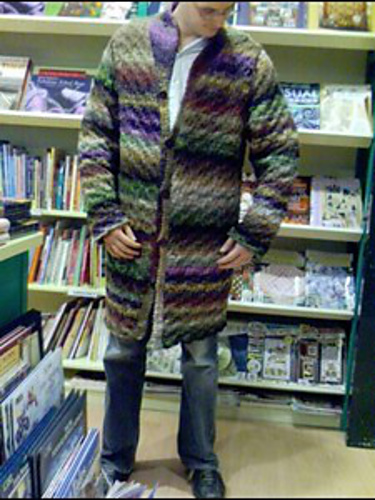 "Jared found the discontinued yarn for this project in a gorgeous variegated brown. This photo is copyright ""frederick"" on ravelry, and slurped from hence. I would have just taken a picture of the project in the book, but, well, you'll see..."